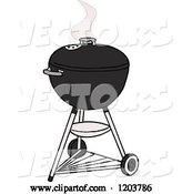 Vector of Cartoon Black Weber Charcoal Bbq Grill by LaffToon