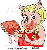 Vector of Cartoon Blond Female Pig Holding Saucy Ribs by LaffToon