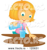March 24th, 2018: Vector of Cartoon Blond Girl Pouring a Glass of Water by Graphics RF