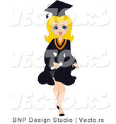 Vector of Cartoon Blond Graduation Pinup Girl Walking Forward with Big Smile by BNP Design Studio
