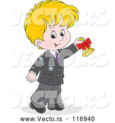 Vector of Cartoon Blond School Boy Ringing a Bell by Alex Bannykh