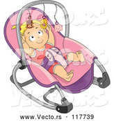 Vector of Cartoon Blond White Baby Girl Reaching for the Toys on Her Rocker by BNP Design Studio