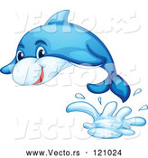 Vector of Cartoon Blue Dolphin Jumping by Graphics RF