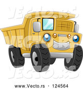 Vector of Cartoon Blue Eyed Yellow Dump Truck Character by BNP Design Studio