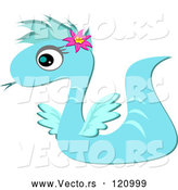 Vector of Cartoon Blue Serpent Dragon by