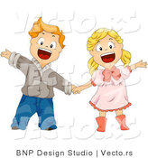 Vector of Cartoon Boy and Girl Holding Hands While Waving and Smiling by BNP Design Studio