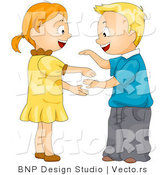 Vector of Cartoon Boy and Girl Playing Hand Game by BNP Design Studio