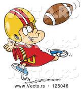 Vector of Cartoon Boy Catching a Football by Toonaday
