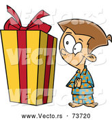 Vector of Cartoon Boy Looking Big Christmas Present by Toonaday