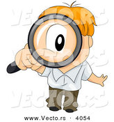 Vector of Cartoon Boy Looking Through Magnifying Glass by BNP Design Studio