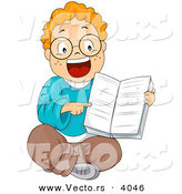 Vector of Cartoon Boy Pointing at Page Within a School Book by BNP Design Studio