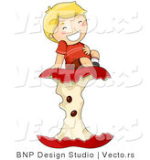 Vector of Cartoon Boy Rubbing His Tummy While Sitting on Big Apple Core by BNP Design Studio
