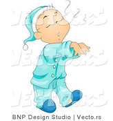 Vector of Cartoon Boy Sleep Walking in His Pajamas by BNP Design Studio