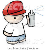 Vector of Cartoon Boy Spraying Paint from Can by Leo Blanchette