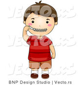 Vector of Cartoon Boy Zipping His Zipper Lips Close by BNP Design Studio