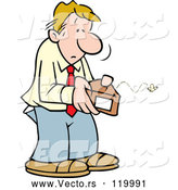Vector of Cartoon Broke Guy Opening an Empty Wallet by Johnny Sajem