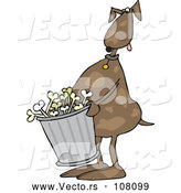 Vector of Cartoon Brown Dog Carrying a Garbage Can of Bones by Djart