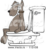 May 4th, 2018: Vector of Cartoon Brown Dog Pooping on a Toilet by Djart