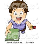 Vector of Cartoon Brunette White Boy Asking for an Autograph by BNP Design Studio