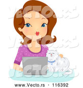 Vector of Cartoon Brunette White Lady and Cat Using a Laptop Computer by BNP Design Studio