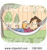 Vector of Cartoon Brunette White Lady Reading a Book in a Hammock in a Yard by BNP Design Studio