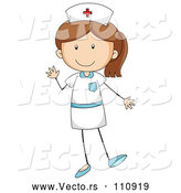 Vector of Cartoon Brunette White Stick Girl Nurse Waving by Graphics RF