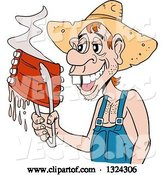 Vector of Cartoon Buch Toothed Male Hillbilly Holding Juicy Bbq Ribs with Tongs by LaffToon