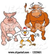 Vector of Cartoon Buff Bull, Chicken and Pig Flexing Their Muscles by LaffToon