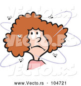 Vector of Cartoon Bugged Brunette Lady with Flies by Johnny Sajem
