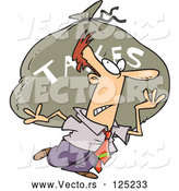 Vector of Cartoon Business Man Carrying a Huge Bag of Money for Taxes by Toonaday