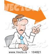 Vector of Cartoon Businessman Making a Point, Downward Trend by Johnny Sajem