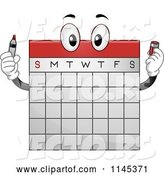 Vector of Cartoon Calendar Mascot Holding a Marker by BNP Design Studio