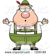 Vector of Cartoon Careless Shrugging Chubby Oktoberfest German Guy by Cory Thoman
