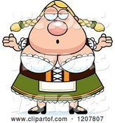 Vector of Cartoon Careless Shrugging Chubby Oktoberfest German Lady by Cory Thoman