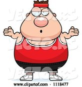 Vector of Cartoon Careless Shrugging Plump White Gym Guy by Cory Thoman