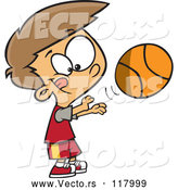 Vector of Cartoon Caucasian Boy Shooting a Basketball by Toonaday