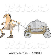 Vector of Cartoon Caveman Pulling a Boulder on a Cart by Djart