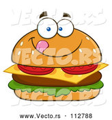 Vector of Cartoon Cheeseburger Character Licking His Lips by Hit Toon