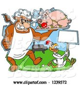 Vector of Cartoon Chef Bull Holding a Stuffed Pig on a Platter over a Chicken with a Sign by a Bbq Grill by LaffToon