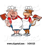 Vector of Cartoon Chef Pig and Cow with Ribs and Brisket by LaffToon
