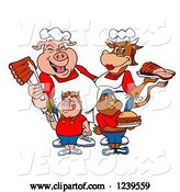 Vector of Cartoon Chef Pig and Female Cow over a Pig Girl and Chicken Boy with Meats by LaffToon