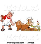 Vector of Cartoon Chef Pig Holding Ribs and Pulling the Tail of a Cow While a Chicken Holds a Rope by LaffToon