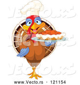 Vector of Cartoon Chef Turkey Bird Serving a Thanksgiving Pumpkin Pie by Pushkin
