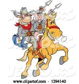 Vector of Cartoon Chicken, Bull and Pig Civil War Soldiers Riding a Horse with Bbq Sauce by LaffToon