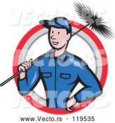 Vector of Cartoon Chimney Sweep Worker Holding a Broom in a Circle by Patrimonio