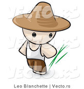 Vector of Cartoon Chinese Farmer Guy Wearing Hat by Leo Blanchette
