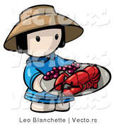 Vector of Cartoon Chinese Girl Carrying Lobster on Plate by Leo Blanchette