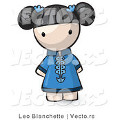 Vector of Cartoon Chinese Girl Wearing Blue Dress by Leo Blanchette