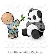 Vector of Cartoon Chinese Guy Feeding Panda Bear Bamboo Leaves by Leo Blanchette