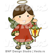 Vector of Cartoon Christmas Angel Girl Carrying a Lantern by BNP Design Studio